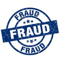 Fraud blue round grunge stamp vector