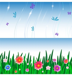 Banners with repeating pattern tile of grass and vector
