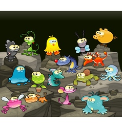 Family of monsters in the cave vector
