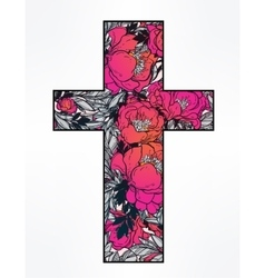 Cross with flowers vector