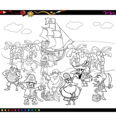 Pirates cartoon coloring book vector