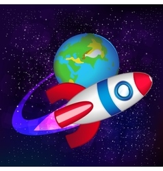 Spaceship in space vector