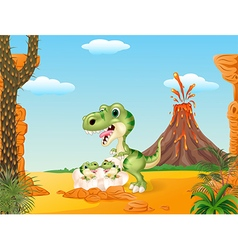 Cartoon mom tyrannosaurus dinosaur and baby vector