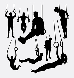 rings sport training silhouette vector image