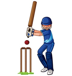 Male athlete playing cricket vector