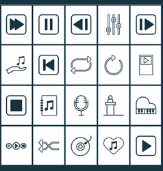 Audio icons set includes icons such as mike vector