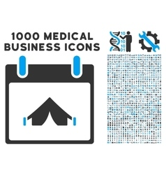 Camping calendar day icon with 1000 medical vector