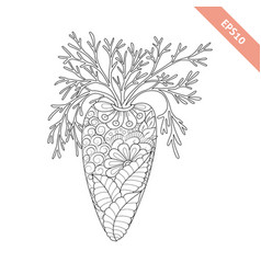 Cartoon carrot with floral ornament vector