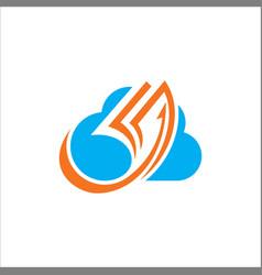 Cloud data paper logo vector