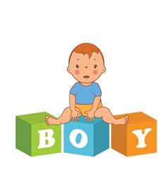 Cute baby boy with children bricks vector