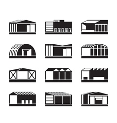 Different industrial warehouses vector