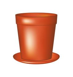 Empty flowerpot in terracotta colour vector