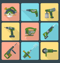 flat house remodel power tools icons vector image