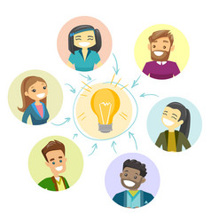Group of businessmen discussing business idea vector