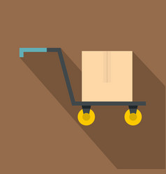 Hand truck with cardboard box icon flat style vector