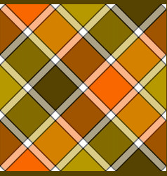 Orange khaki marsh color diagonal check plaid vector