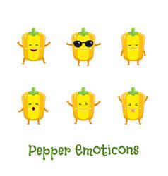 Pepper smiles cute cartoon emoticons emoji icons vector