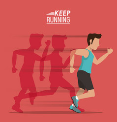 red background of poster keep running with male vector image