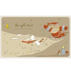 santa claus and white rabbit vector image