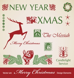 set of Christmas retro design elements vector image vector image