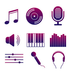 Set of icons of music and songs modern collection vector