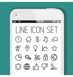 Simple modern thin icon collection for smart phone vector