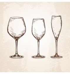 Sketch set of empty wineglasses vector image vector image