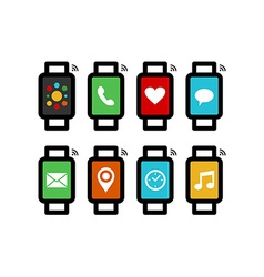 Smart watch line art set with colorful app icons vector