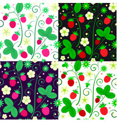Strawberries seamless pattern in color variations vector