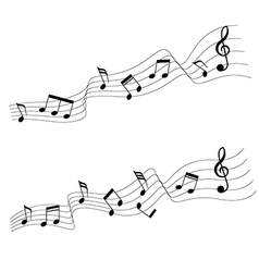 Two music note in wave style vector image vector image