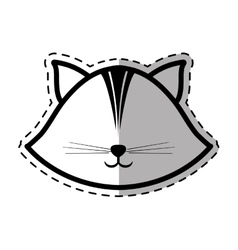 Face cat feline animal dot line shadow vector