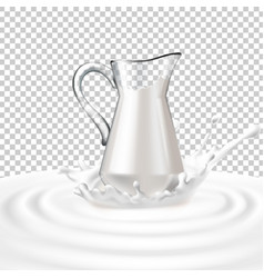 a glass jug with milk vector image