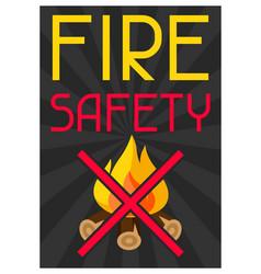 Fire safety firefighting poster do not light vector