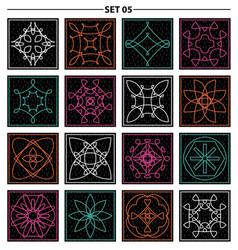 Set of floral linear monogram design line art vector