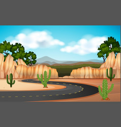 Scene with road through the canyon vector