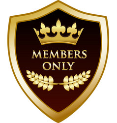 Members only gold shield vector