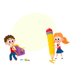 Boy carrying backpack girl with huge pencil vector