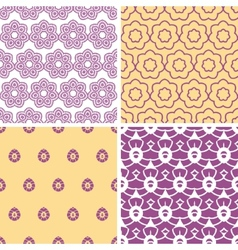 Four abstract purple and gold oriental motives vector image
