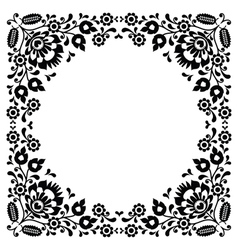 Polish floral folk black embroidery frame pattern vector image