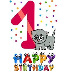 First birthday cartoon design vector