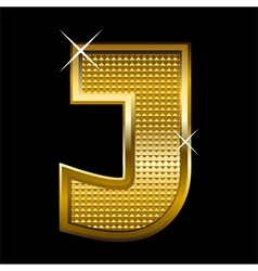 Golden font type letter j vector