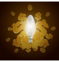 Dollars and light bulb vector