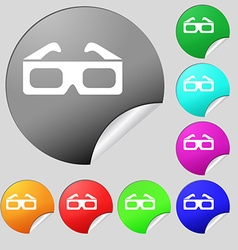3d glasses icon sign set of eight multi colored vector