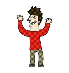 Comic cartoon excited man vector
