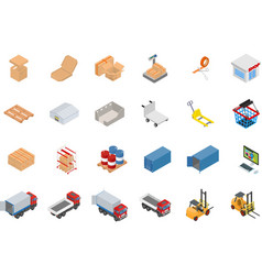 Isometric warehouse and logistics object set vector