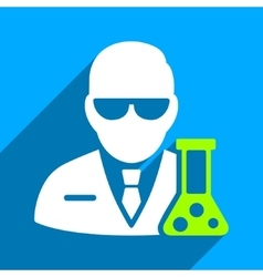 Scientist with flask flat square icon with long vector