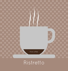 A cup of coffee with steam pure coffee and ristret vector