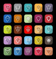 Design shield line icons with long shadow vector image