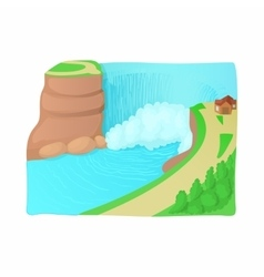Waterfall landscape icon cartoon style vector