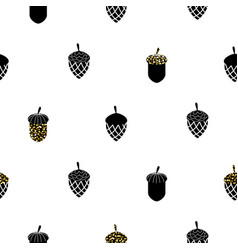 Acorn black and white seamless pattern vector
